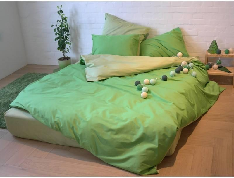 Постельное белье Сатин OLIVE + SHADOW LIME, двуспальный