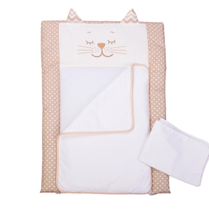 Пеленальный матрас для новорожденных тканевый Veres Smiling animals beige 50х70 см