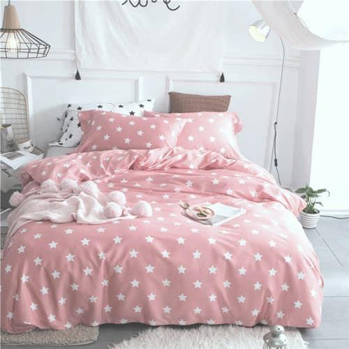 """Комплект постельного белья """"Звезды на розовом , ранфорс Lux"""", двуспальный"""