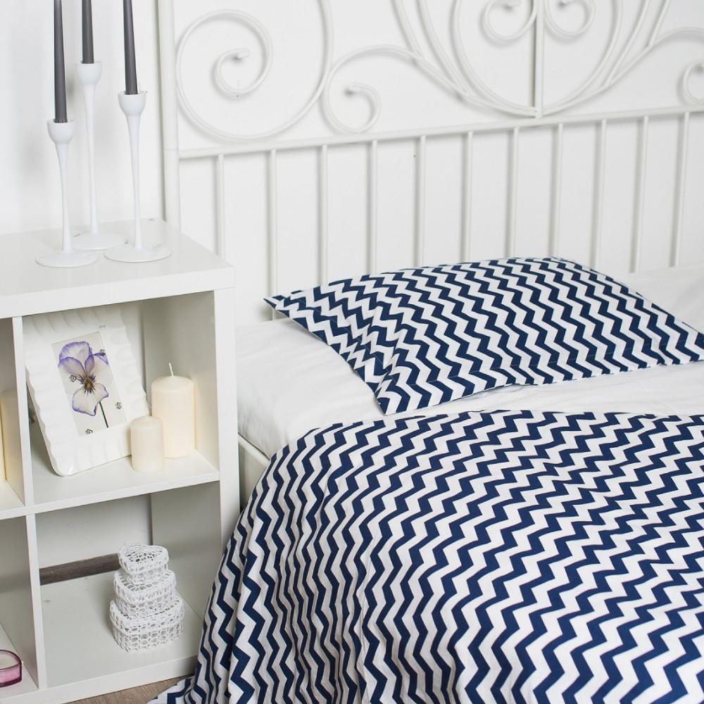 """Комплект постельного белья """"Зигзаг угольно-синий, ранфорс Lux"""", в кроватку"""