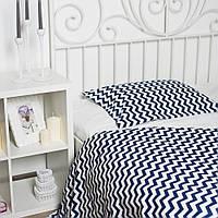 """Комплект постельного белья """"Зигзаг угольно-синий, ранфорс Lux"""", в кроватку, фото 1"""