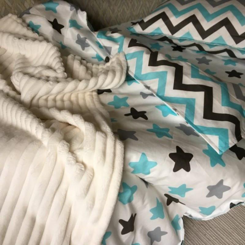 Комплект постельного белья Звезды -прянички голубые ,поплин, подростковый