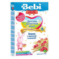 Каша молочная Bebi Premium (Беби Премиум) злаки с малиной и вишней, 200 г 1104842