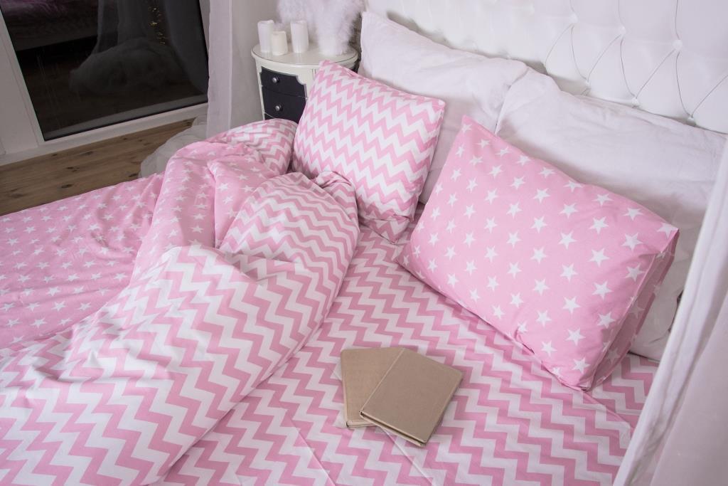 """Комплект постельного белья """"Звезды + зигзаг на розовом , ранфорс Lux"""", подростковый"""