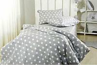 """Комплект постельного белья """"Звезды на сером, ранфорс Lux"""", в кроватку, фото 1"""