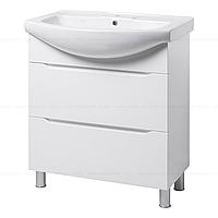 Тумба под раковину для ванной комнаты на ножках ВИСЛА Т8 (белая) с умывальником ИЗЕО 75