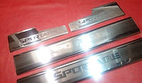 Хром накладки на внутренние пороги для Kia Sportage, Киа Спортейдж 2010+