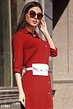 Платье-рубашка длины миди красное, фото 2
