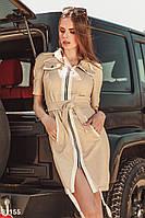 Легкое летнее платье с коротким рукавом бежевое