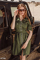 Легкое летнее платье с коротким рукавом хаки