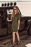 Легкое летнее платье с коротким рукавом хаки, фото 2