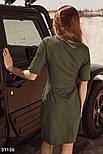 Легкое летнее платье с коротким рукавом хаки, фото 3