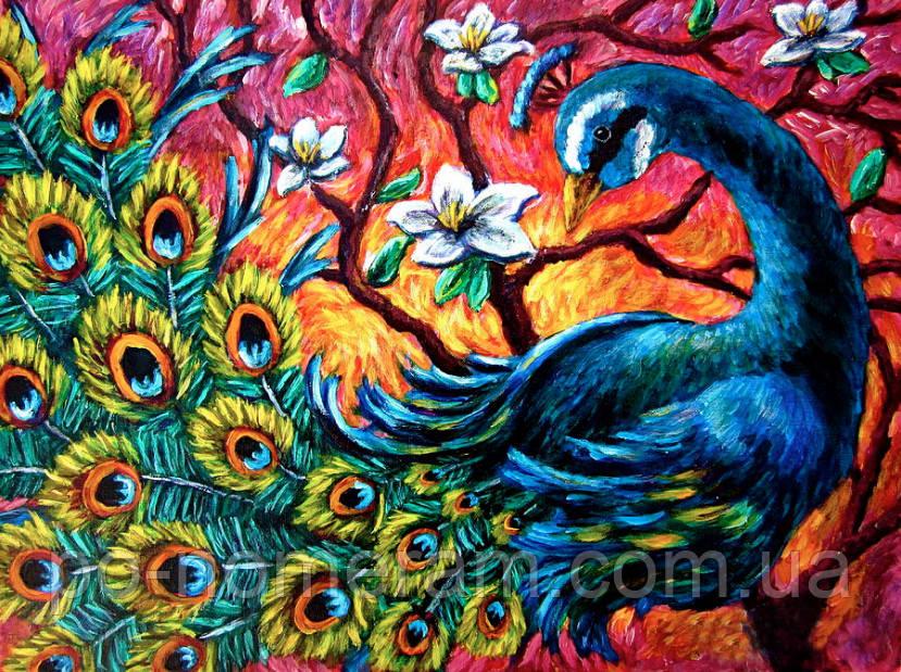 Рисование камнями на холсте Алмазная мозаика Красочный павлин (DM-303) 50 х 40 см (Без подрамника)