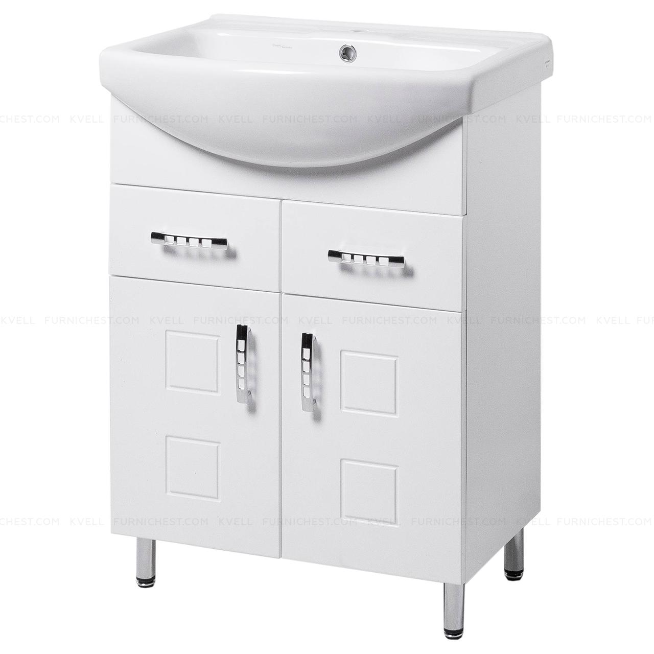 Тумба під раковину для ванної кімнати на ніжках КВАТРО Т5 (біла) з умивальником ИЗЕО 60