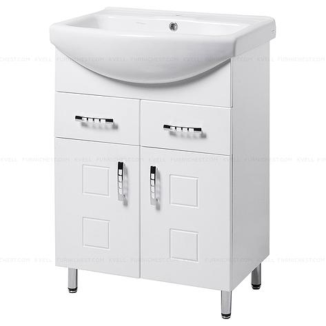 Тумба під раковину для ванної кімнати на ніжках КВАТРО Т5 (біла) з умивальником ИЗЕО 60, фото 2