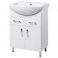 Тумба под раковину для ванной комнаты на ножках КВАТРО Т1 (белая) с умывальником ИЗЕО 70