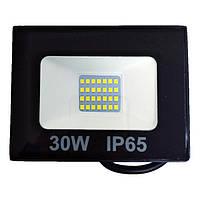 Прожектор LED SMD 30W 6500K чорний(L-15см з радіатором) STANDARD (20шт/ящ) ТМ LUMANO (24 міс. гар)