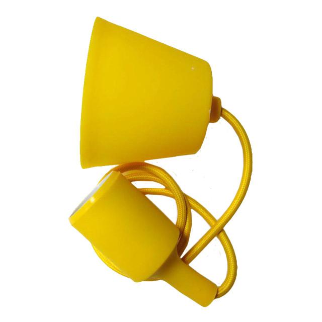 Світильник універсал.підвісн.силікон. ART-LOFT E27 YELLOW (ЖОВТИЙ) (1М+монт.комп)100шт/ящ ТМ LUMANO