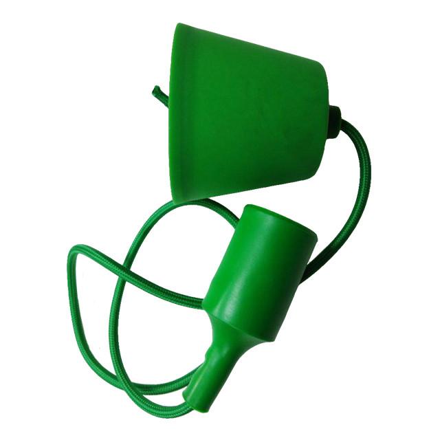 Світильник універсал.підвіс.силікон. ART-LOFT E27 GREEN (ЗЕЛЕНИЙ) (1М+монт.комп)100шт/ящ ТМ LUMANO