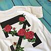 Мощная футболка Off-White Roses. Бирка ориг, фото 3