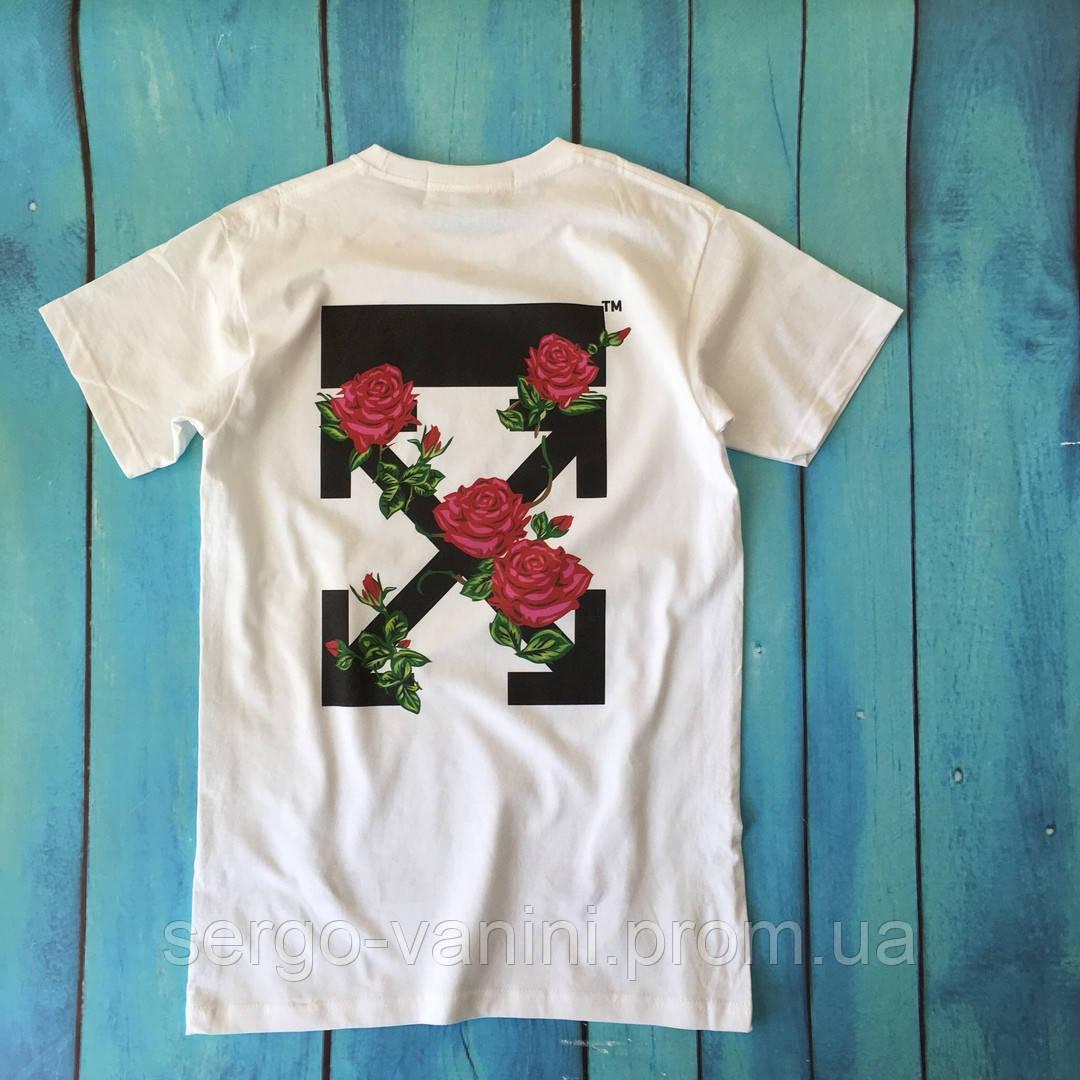 Мощная футболка Off-White Roses. Бирка ориг