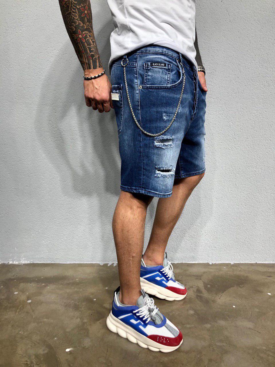 Мужские джинсовые шорты светло-синие Black Island 5223-3403