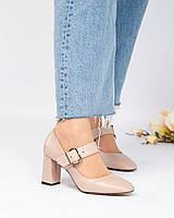 Туфли женские с пряжкой бежевые, фото 1