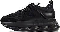 Мужские кроссовки Versace Chain Reaction Sneaker Triple Black (Версаче) в стиле черные
