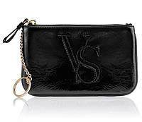 Лаковая чёрная косметичка-ключница Victoria's Secret
