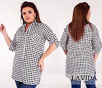 Рубашка в клетку, черная с 46-60 размер