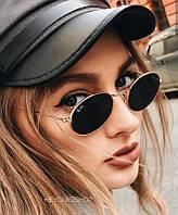 Солнцезащитные очки черные стеклянные овальные сонцезахисні окуляри чорні ray ban
