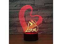 Оригинальный сенсорный 3D светильник Love для с эффектом трехмерного изображения, фото 1