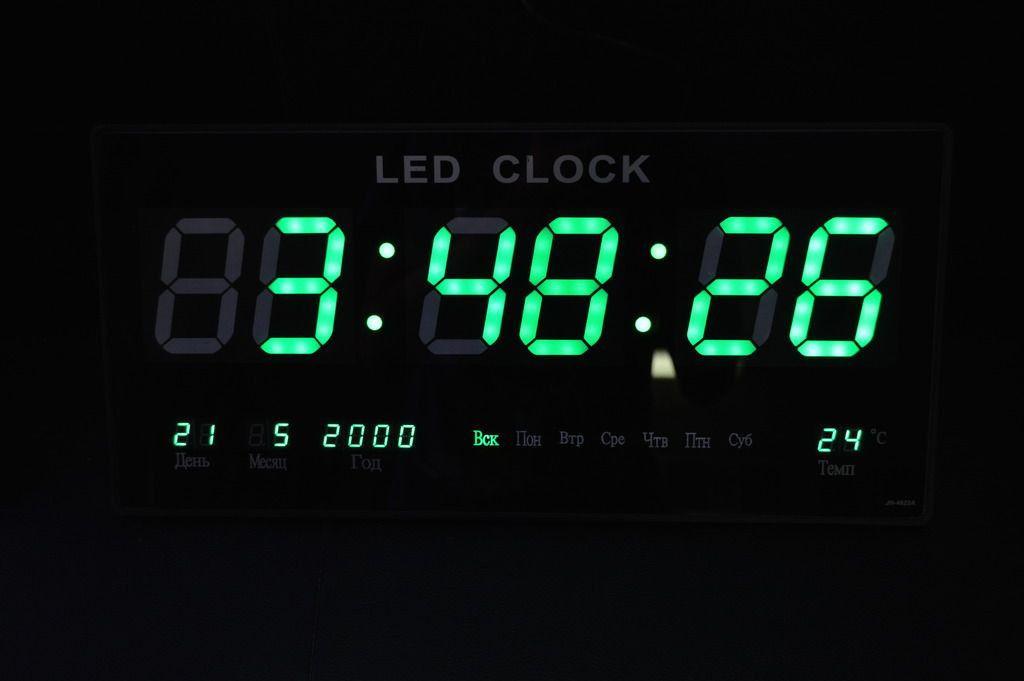 Часы большие светодиодные настенные с календарем и термометром