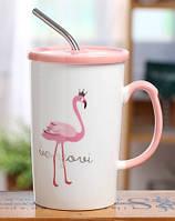 Чашка с крышкой и трубочкой Flamingo 350 мл , фото 1