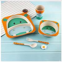 Бамбукова посуда для детей Бегемотик Hippo эко игрушки YOOKIDOO