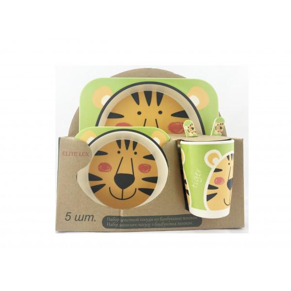 """""""ТИГР"""" набор детский для кормления из бамбукового волокна эко-посуд"""
