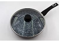 Сковорода с крышкой гранитная (Белый и черный) Benson BN-516 (26 см) с антипригарным покрытием, фото 1