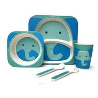 Бамбуковая посуда для деток противоаллергенная Слоник Elephant набор 5 в 1, фото 1