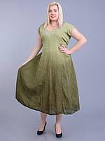 Платье оливковое, большой размер, 56-66 размеры