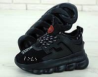 Мужские кроссовки черные на высокой подошве Versace топ-реплика