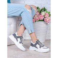 Кожаные женские кроссовки белые с вставками замши oc6998