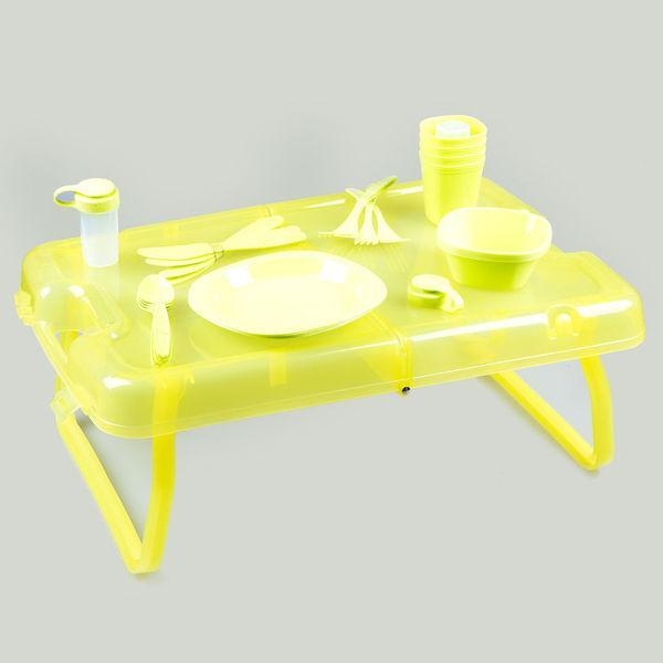 Набор туристической посуды на 4 персоны в кейсе пластик 8 предметов туристический набор
