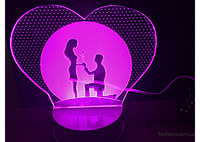 Романтический 3D LED светильник 1109, ночник трехмерного изображения