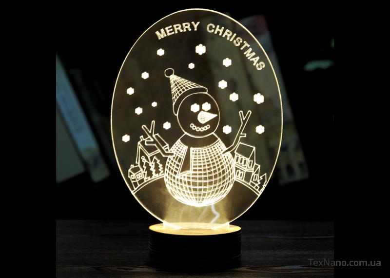 """Ночник """"Рождественский Снеговик"""", светодиодный 3D светильник 1114"""