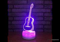 """Необычный светильник для любителей музыки """"Гитара"""" 1101 с 3D эффектом, фото 1"""