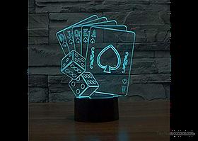 """Эффектный светильник-ночник 1096 """"Покер"""", светодиодный трехмерного изображения"""