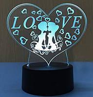 """3D ночник """"Любовь"""", сенсорный, светодиодный, романтический подарок"""