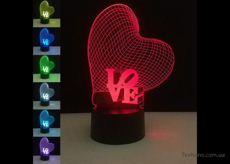 """Компактный 3D ночник 1107 в спальню """"Любовь"""", для романтической атмосферы"""