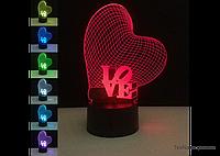 """Компактный 3D ночник 1107 в спальню """"Любовь"""", для романтической атмосферы, фото 1"""