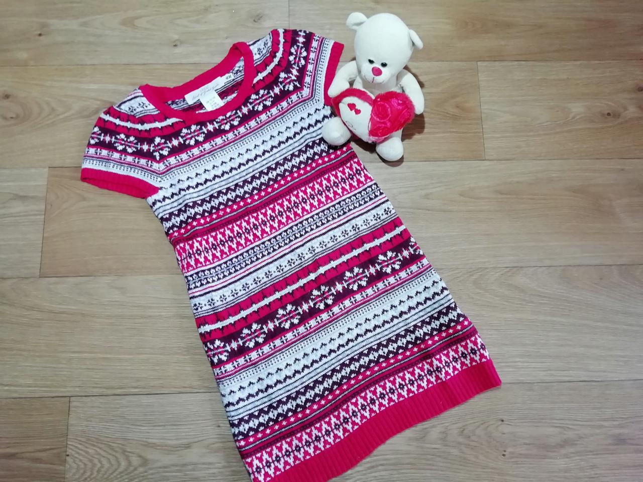 Стильное вязаное платье туника с орнаментом с люрексовой нитью H&M (Англия) (Размер 6-8Т)